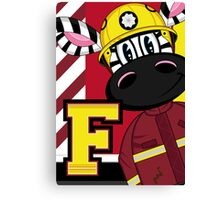 Cute Zebra Fireman Canvas Print
