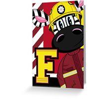 Cute Zebra Fireman Greeting Card