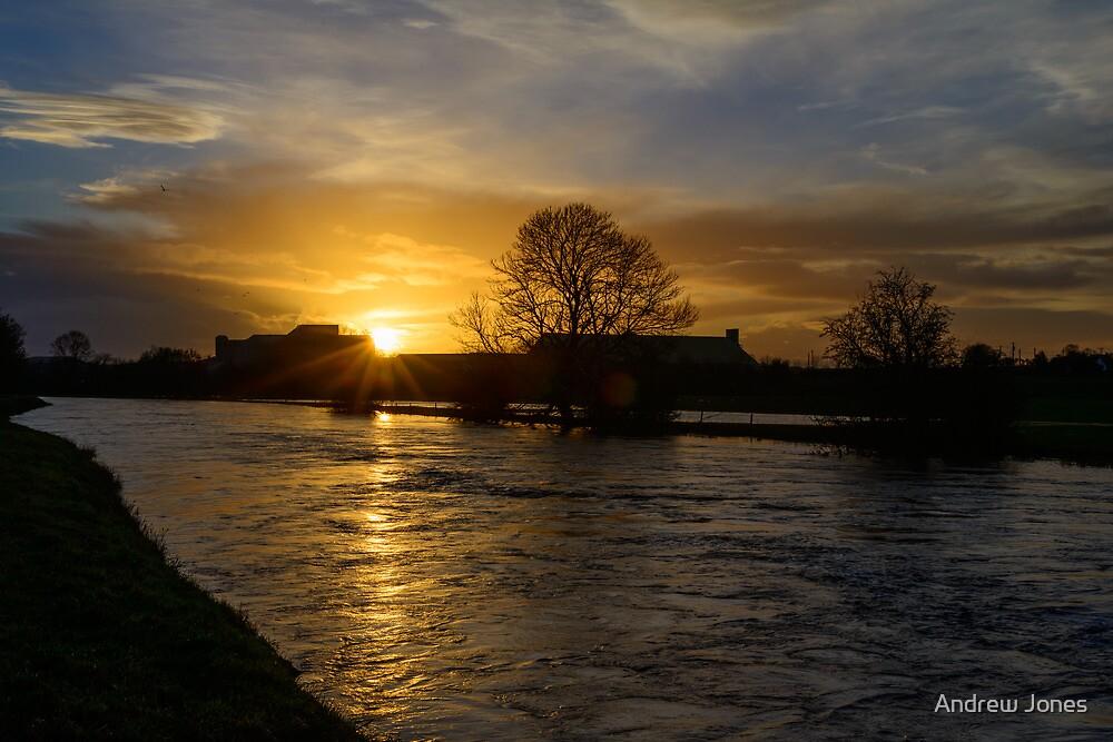 Sunset over Goresbridge, River Barrow, County Kilkenny, Ireland by Andrew Jones