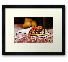 Potatoes pancake with salmon  Framed Print