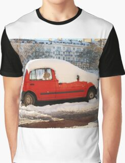 Red car in the snow Graphic T-Shirt