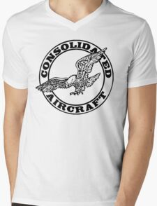 Consolidated Aircraft Logo (Black) Mens V-Neck T-Shirt