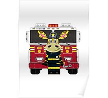 Cute Giraffe Fireman Poster