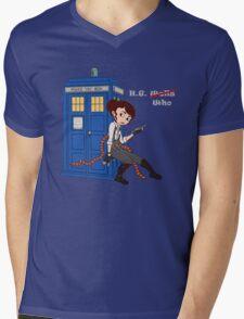 H.G. Who - grey text Mens V-Neck T-Shirt