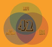 NEW Venn Diagram: Life, the Universe & Everything (for light shirts) by M Dean Jones