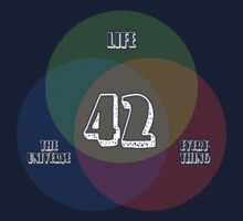 NEW Venn Diagram: Life, the Universe & Everything (for dark shirts) by M Dean Jones