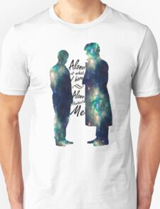 """Johnlock """"ALONE IS WHAT I HAVE"""" white letters Unisex T-Shirt"""