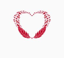 Red feather heart with flying birds Womens Fitted T-Shirt