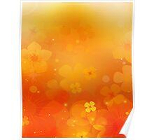 Orange Floral Display Poster