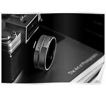 Vintage Nikon Camera Photography - Black and White Poster