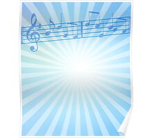Music Notes Blue Sunburst Poster