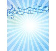 Music Notes Blue Sunburst Photographic Print