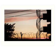 Buildings at sunset Art Print