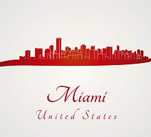 Miami skyline in red by paulrommer