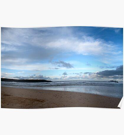 Blue Skies at Harlyn Bay, Cornwall Poster