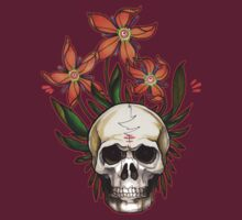 psychedelic skull flowers by resonanteye
