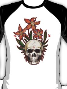 psychedelic skull flowers T-Shirt