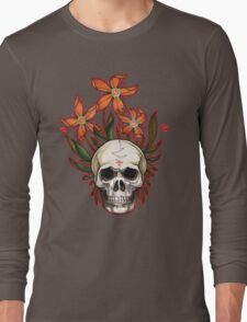 psychedelic skull flowers Long Sleeve T-Shirt