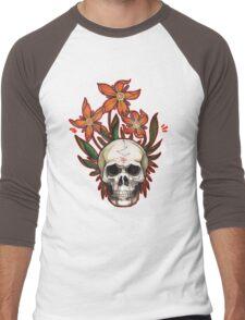 psychedelic skull flowers Men's Baseball ¾ T-Shirt