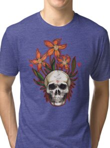 psychedelic skull flowers Tri-blend T-Shirt