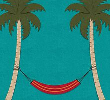 Tropical Beach with Palm Trees and a Hammock by Gotcha29