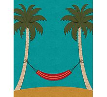 Tropical Beach with Palm Trees and a Hammock Photographic Print