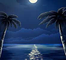 Tropical Moon over Water by Gotcha29