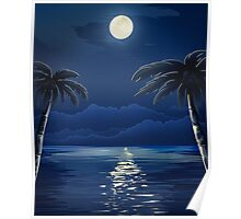 Tropical Moon over Water Poster