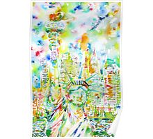 STATUE OF LIBERTY - watercolor portrait Poster