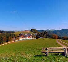 Bench with beautiful panorama | landscape photography by Patrick Jobst