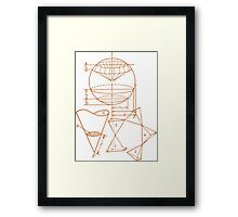 Vintage Math Diagrams - sepia Framed Print