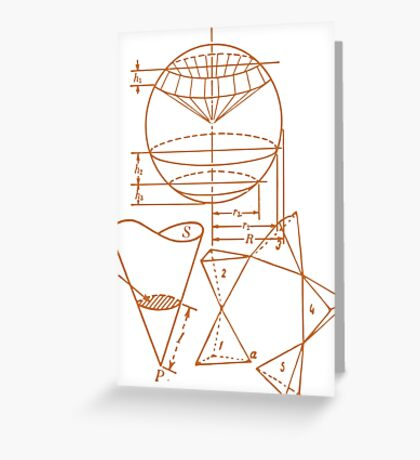 Vintage Math Diagrams - sepia Greeting Card