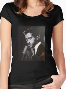 Sammy Davis Jr. Original portrait painting Women's Fitted Scoop T-Shirt
