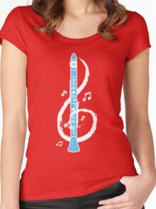 Musical Clarinet Treble Clef Women's Fitted Scoop T-Shirt