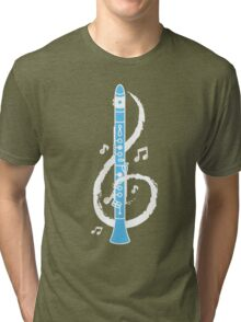 Musical Clarinet Treble Clef Tri-blend T-Shirt