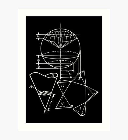 Vintage Math Diagrams - white on black Art Print