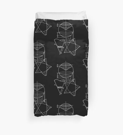 Vintage Math Diagrams - white on black Duvet Cover
