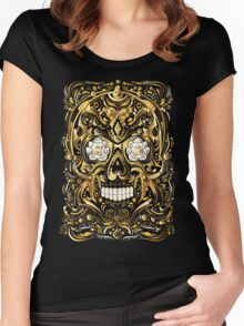 Gold Mexican Skull Women's Fitted Scoop T-Shirt