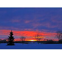 Winter Sunrise on the Prairies Photographic Print