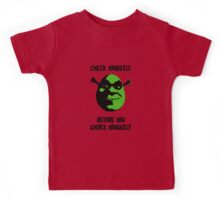 Check Yourself Before You Shrek Yourself (Black and Green) Kids Tee