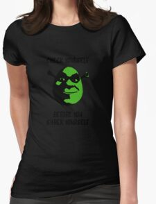 Check Yourself Before You Shrek Yourself (Black and Green) Womens Fitted T-Shirt