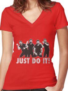 Shia Labeouf Just Do It / Motivational Speech Design Black & White Women's Fitted V-Neck T-Shirt