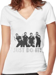 Shia Labeouf Just Do It / Motivational Speech Design Black & White Women's Fitted V-Neck T-Shirt