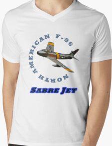 Sabre Jet Designer Tees and Stickers Mens V-Neck T-Shirt