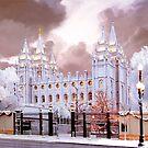 Salt Lake Temple Winter Gate by Ken Fortie
