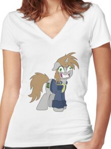 Crazed Little Pip (Fallout: Equestria) Women's Fitted V-Neck T-Shirt