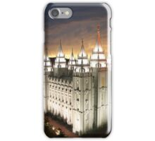 Salt Lake Temple Cloudy Sunset 20x24 iPhone Case/Skin