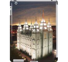 Salt Lake Temple Cloudy Sunset 20x24 iPad Case/Skin