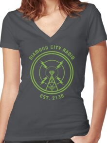 DIAMOND CITY RADIO Women's Fitted V-Neck T-Shirt