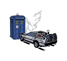 DeLorean vs Tardis [Drawing] Photographic Print